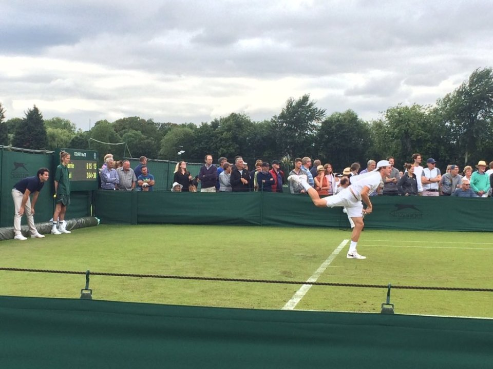 Tommy Paul in action at Roehampton. Photo courtesy of Ben Rothenberg.